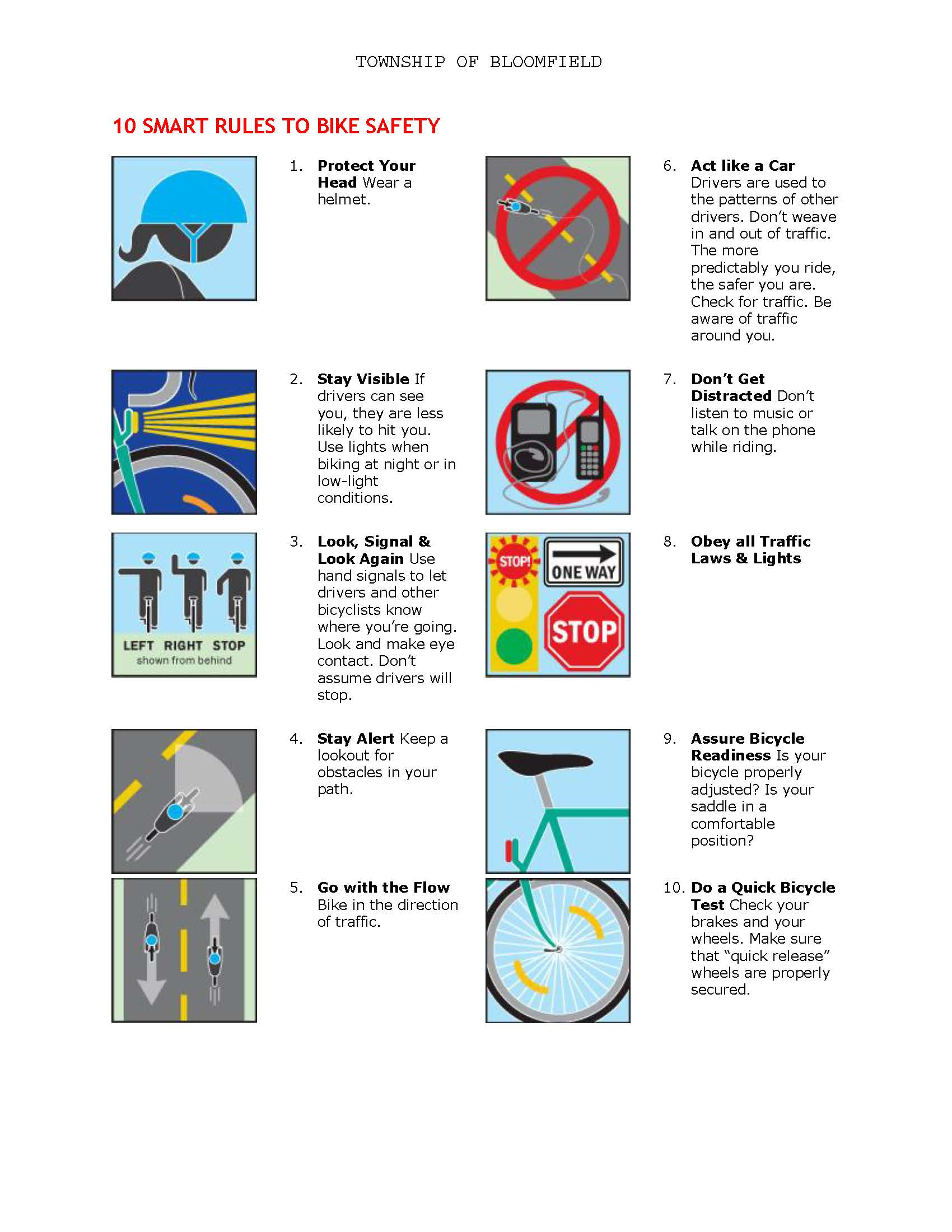 10 Smart Rules to Bike Safety