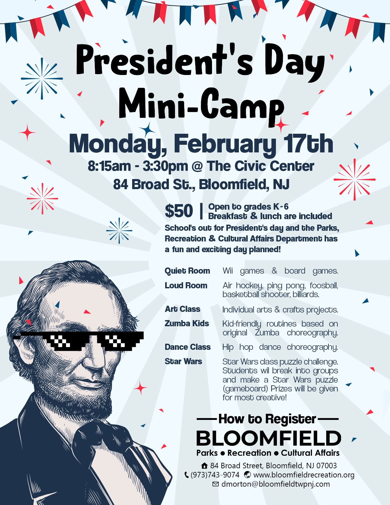 presidents day mini camp flyer
