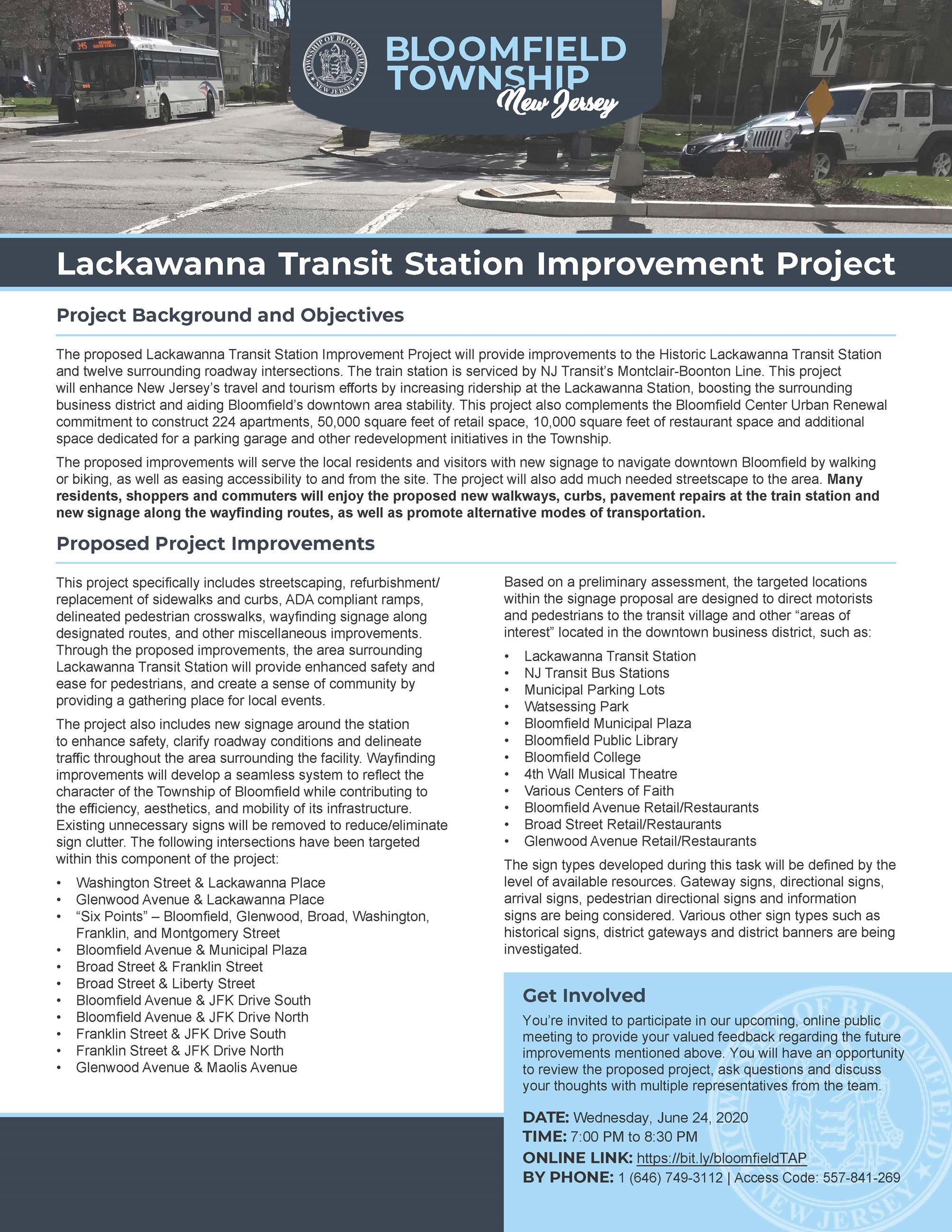 Lackawanna Transit Station Improvement Project overview flyer (PIC)