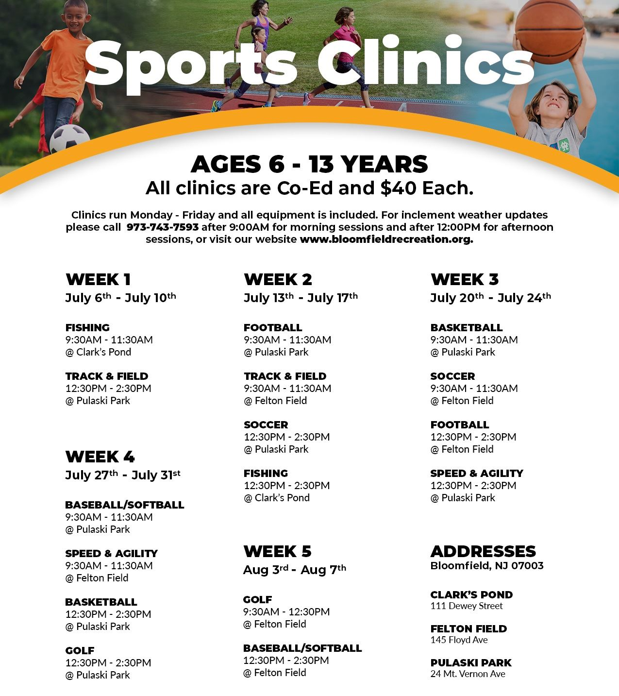 summer sports clinics website