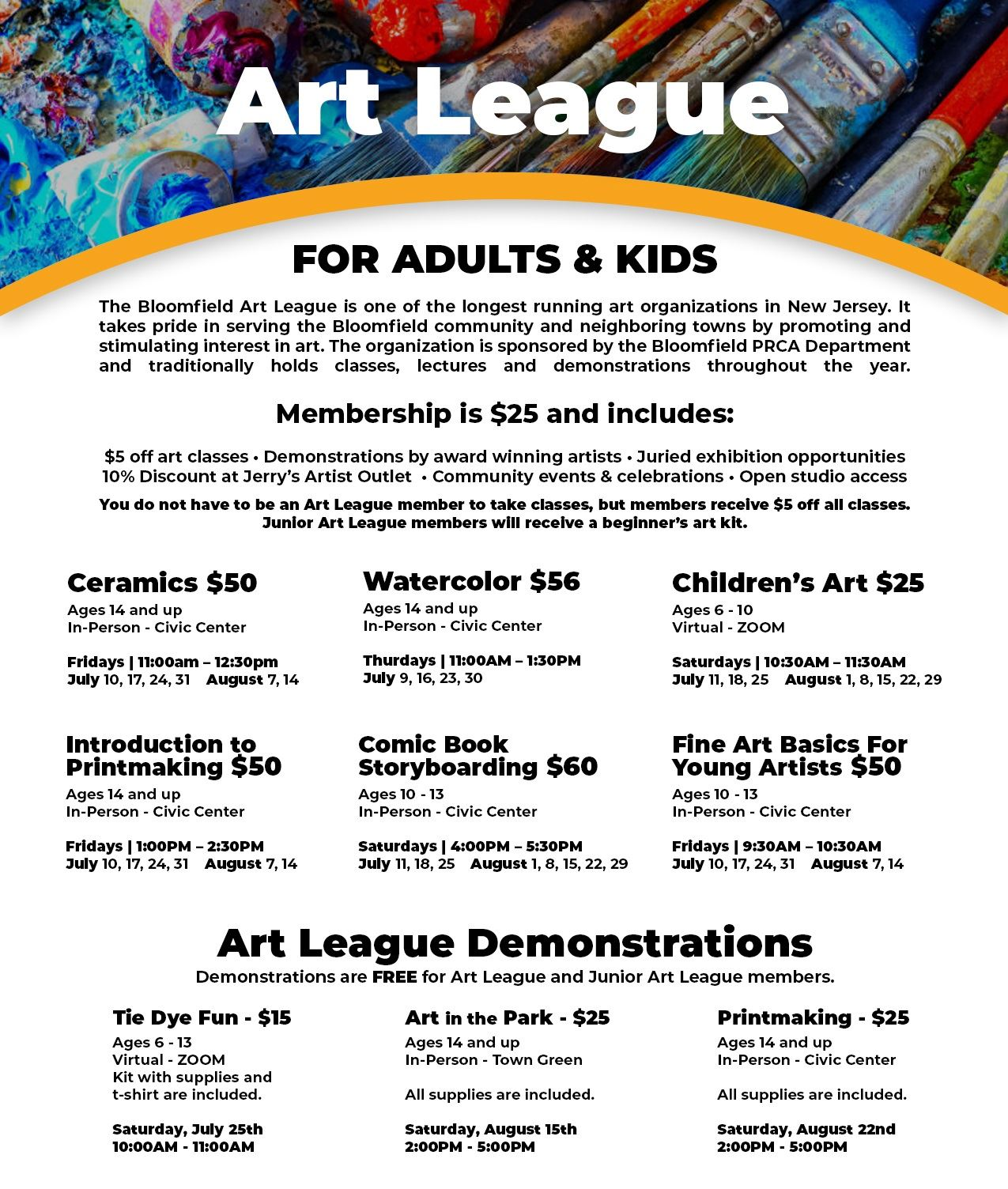 Art League Summer Programs website