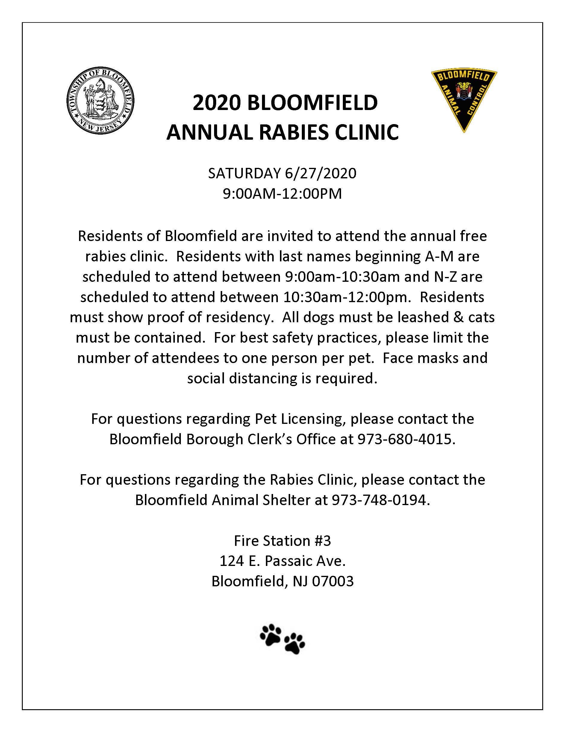 2020 BLOOMFIELD ANNUAL RABIES CLINIC FLYER